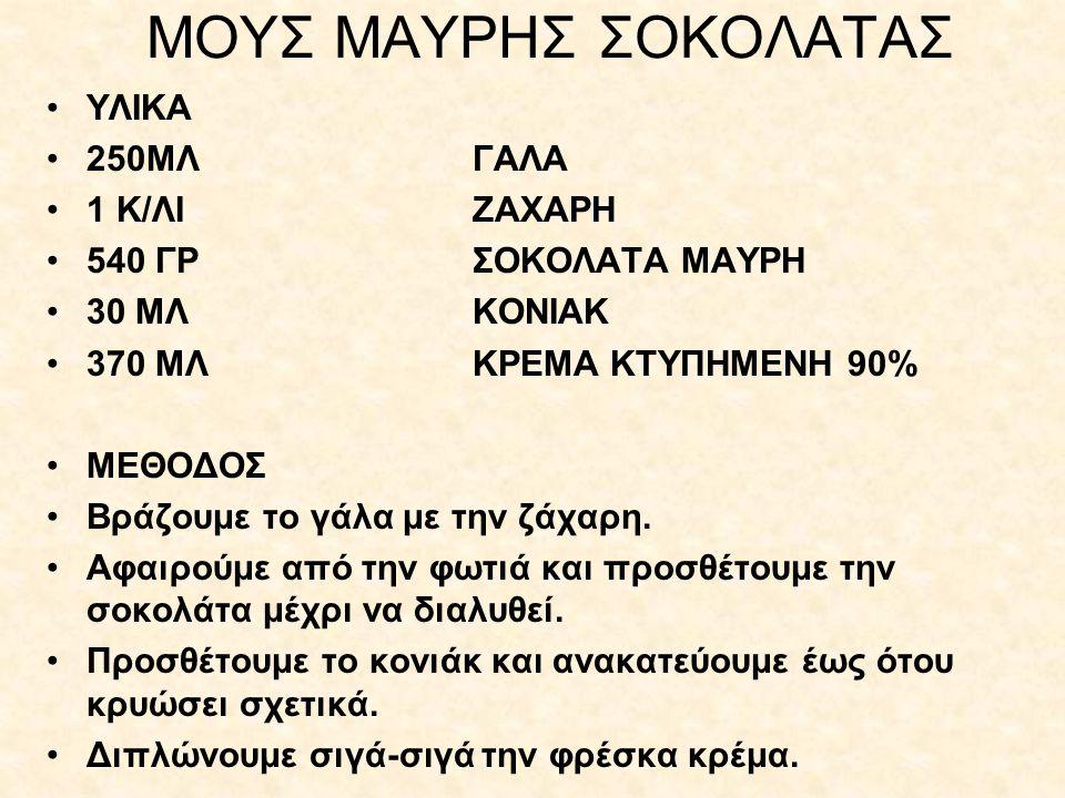 ΜΟΥΣ ΜΑΥΡΗΣ ΣΟΚΟΛΑΤΑΣ ΥΛΙΚΑ 250ΜΛ ΓΑΛΑ 1 Κ/ΛΙ ΖΑΧΑΡΗ