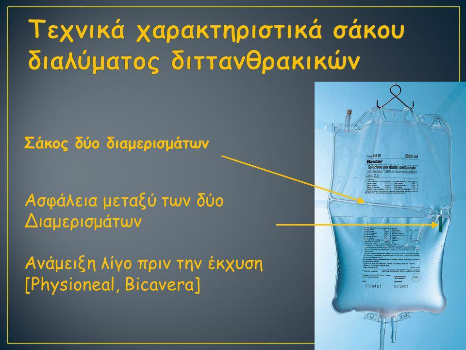 Τεχνικά χαρακτηριστικά σάκου διαλύματος διττανθρακικών