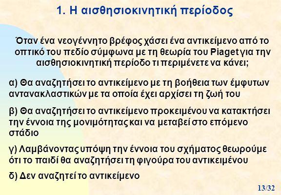 1. Η αισθησιοκινητική περίοδος