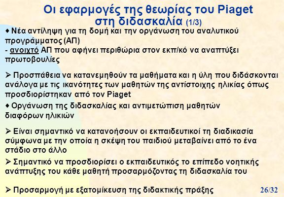 Οι εφαρμογές της θεωρίας του Piaget στη διδασκαλία (1/3)