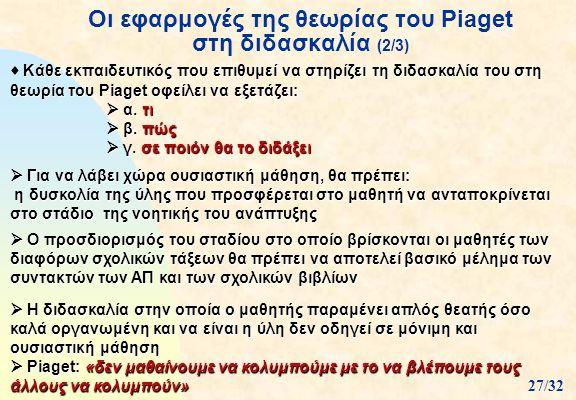 Οι εφαρμογές της θεωρίας του Piaget στη διδασκαλία (2/3)