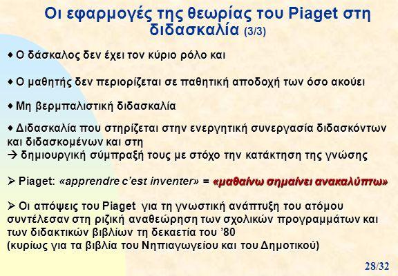 Οι εφαρμογές της θεωρίας του Piaget στη διδασκαλία (3/3)