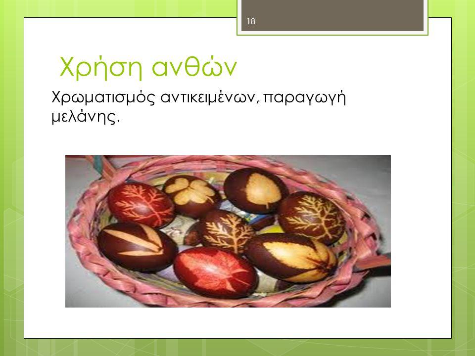 Χρήση ανθών Χρωματισμός αντικειμένων, παραγωγή μελάνης. Μαρία Φ.