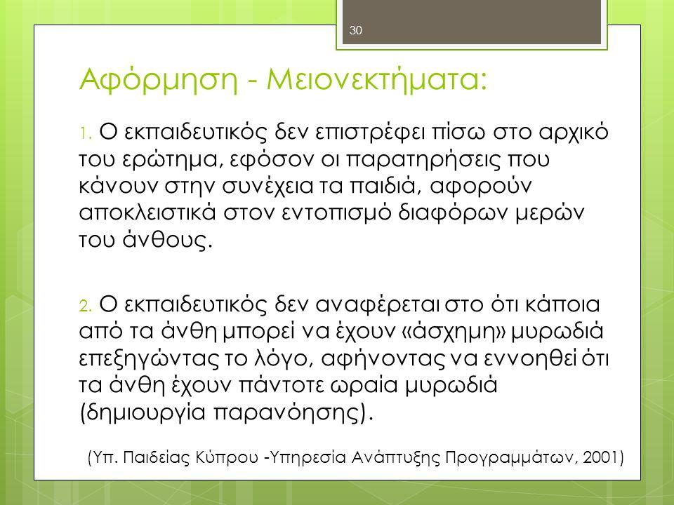 Αφόρμηση - Μειονεκτήματα: