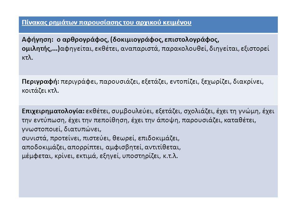 Πίνακας ρημάτων παρουσίασης του αρχικού κειμένου