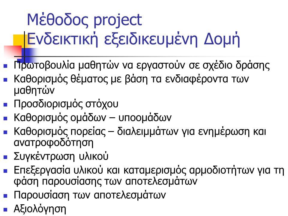 Μέθοδος project Ενδεικτική εξειδικευμένη Δομή
