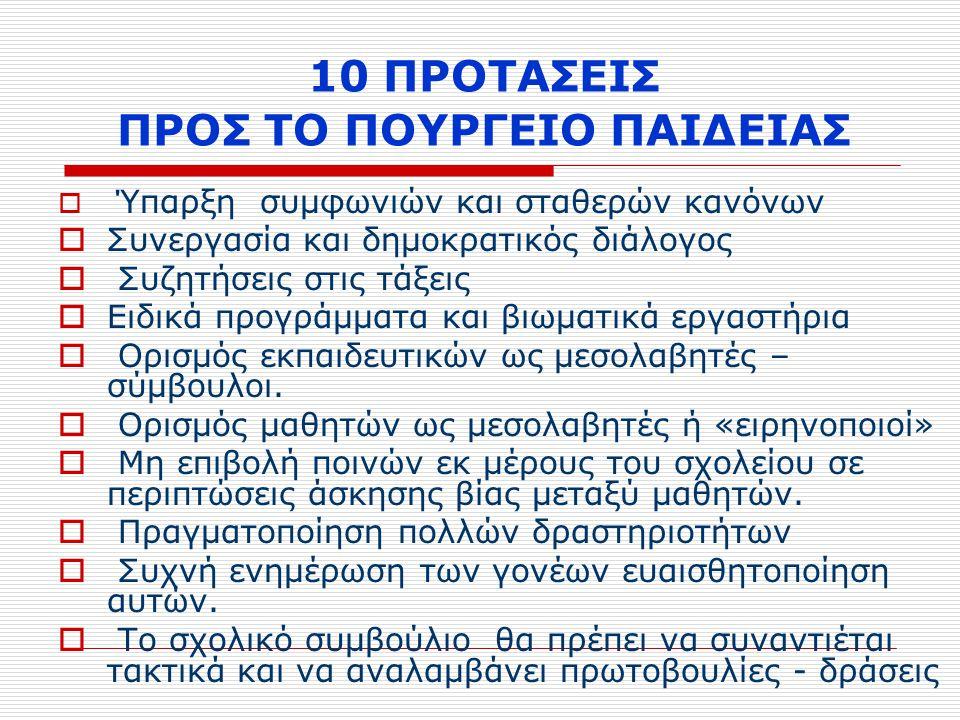 10 ΠΡΟΤΑΣΕΙΣ ΠΡΟΣ ΤΟ ΠΟΥΡΓΕΙΟ ΠΑΙΔΕΙΑΣ