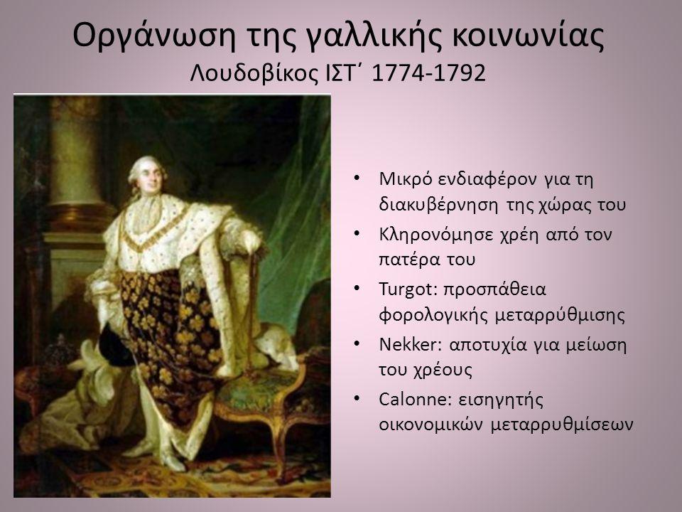 Οργάνωση της γαλλικής κοινωνίας Λουδοβίκος ΙΣΤ΄ 1774-1792