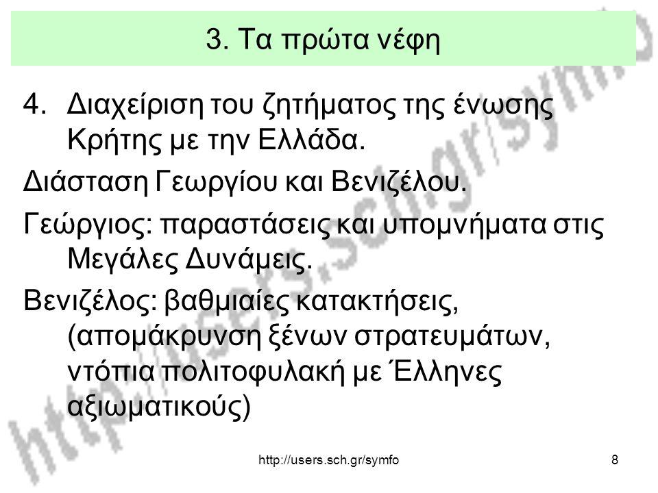 Διαχείριση του ζητήματος της ένωσης Κρήτης με την Ελλάδα.