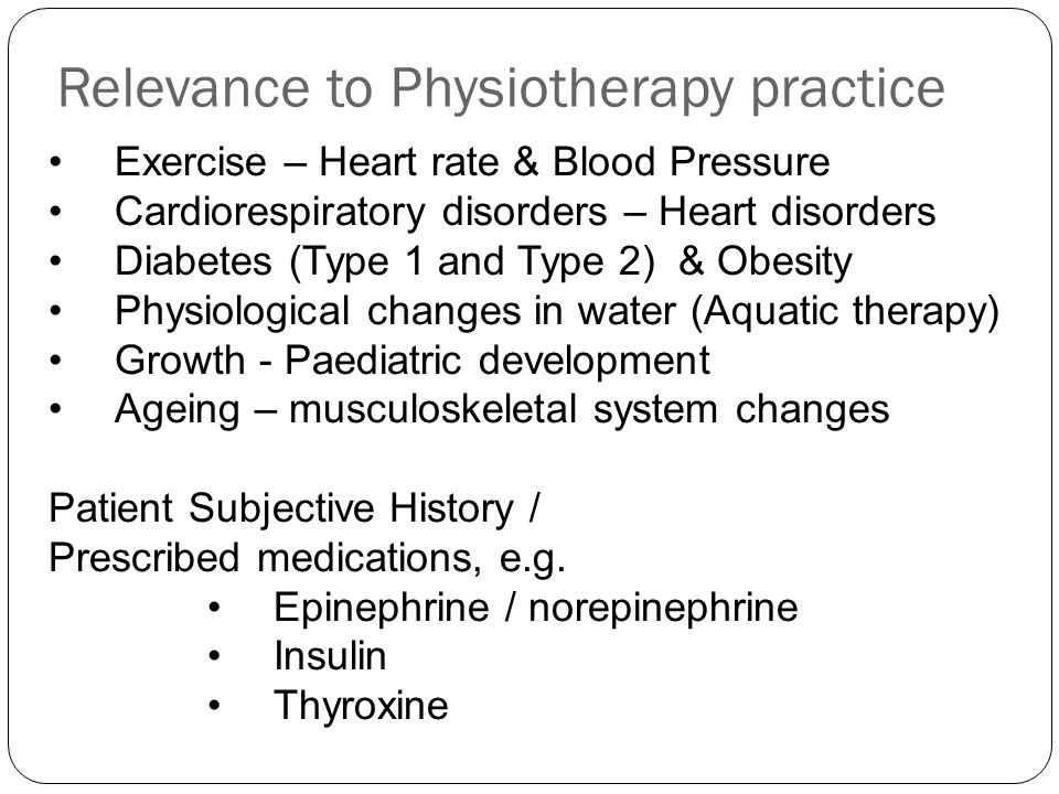 Relevance to Physiotherapy practice