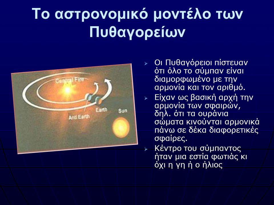 Το αστρονομικό μοντέλο των Πυθαγορείων