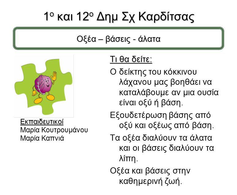 Δραστηριότητες σχολείων που παρουσιάζονται στην 3η Εκδήλωση για τις Φυσικές Επιστήμες στην Καρδίτσα