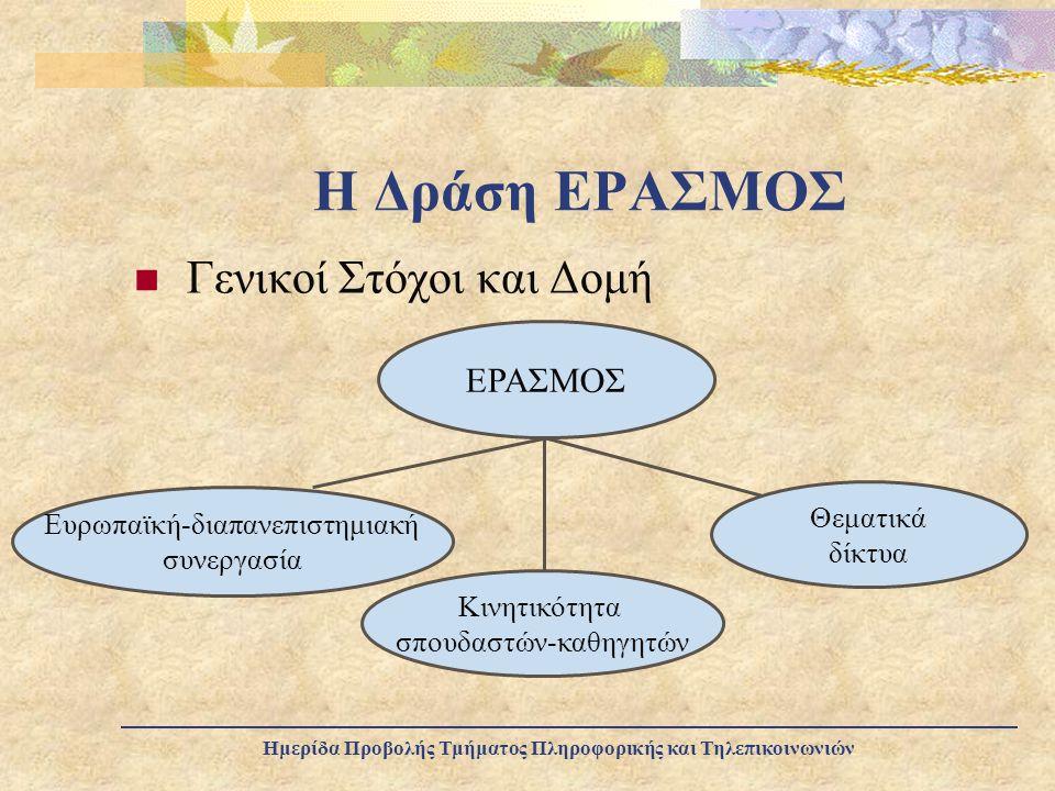 Η Δράση ΕΡΑΣΜΟΣ Γενικοί Στόχοι και Δομή ΕΡΑΣΜΟΣ Θεματικά