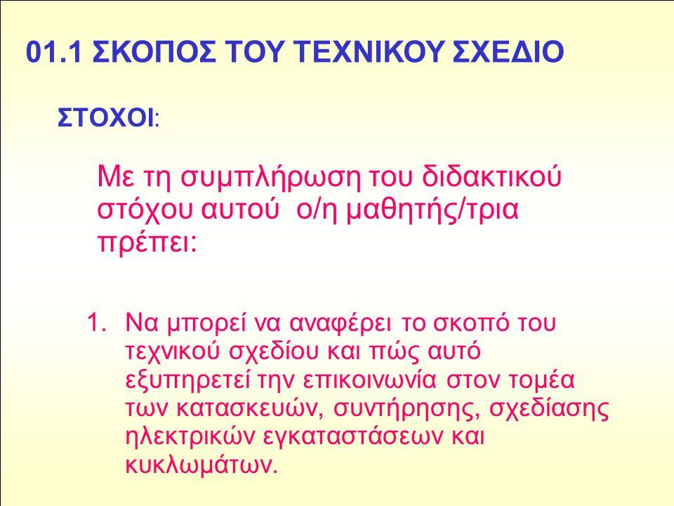 01.1 ΣΚΟΠΟΣ ΤΟΥ ΤΕΧΝΙΚΟΥ ΣΧΕΔΙΟ