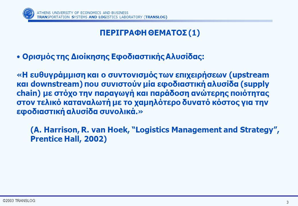ΠΕΡΙΓΡΑΦΗ ΘΕΜΑΤΟΣ (1) Ορισμός της Διοίκησης Εφοδιαστικής Αλυσίδας: