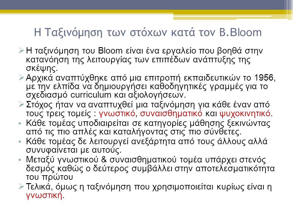 Η Ταξινόμηση των στόχων κατά τον Β.Bloom