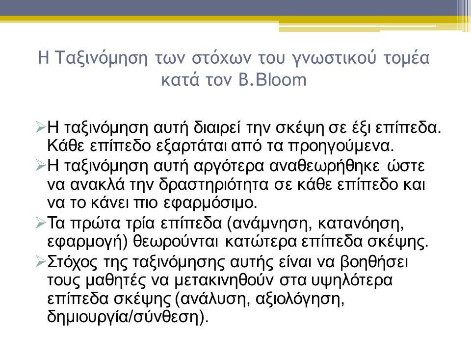 Η Ταξινόμηση των στόχων του γνωστικού τομέα κατά τον Β.Bloom