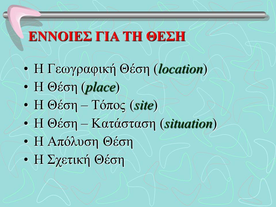 ΕΝΝΟΙΕΣ ΓΙΑ ΤΗ ΘΕΣΗ Η Γεωγραφική Θέση (location) Η Θέση (place) Η Θέση – Τόπος (site) Η Θέση – Κατάσταση (situation)