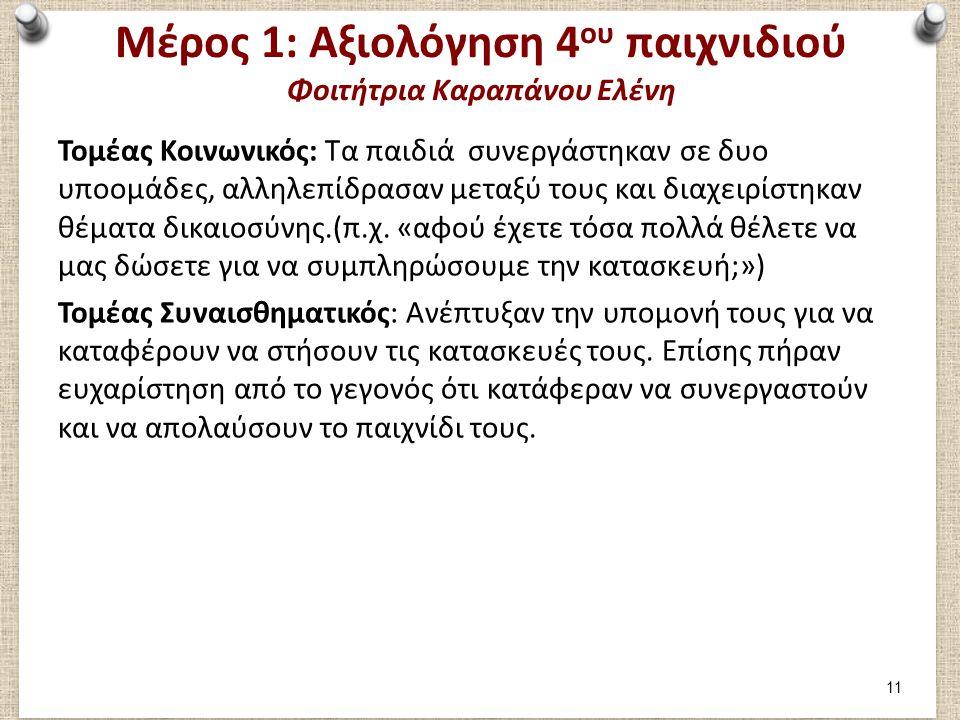 Μέρος 2: Συμμετοχή στο 1ο παιχνίδι Φοιτήτρια Καραπάνου Ελένη