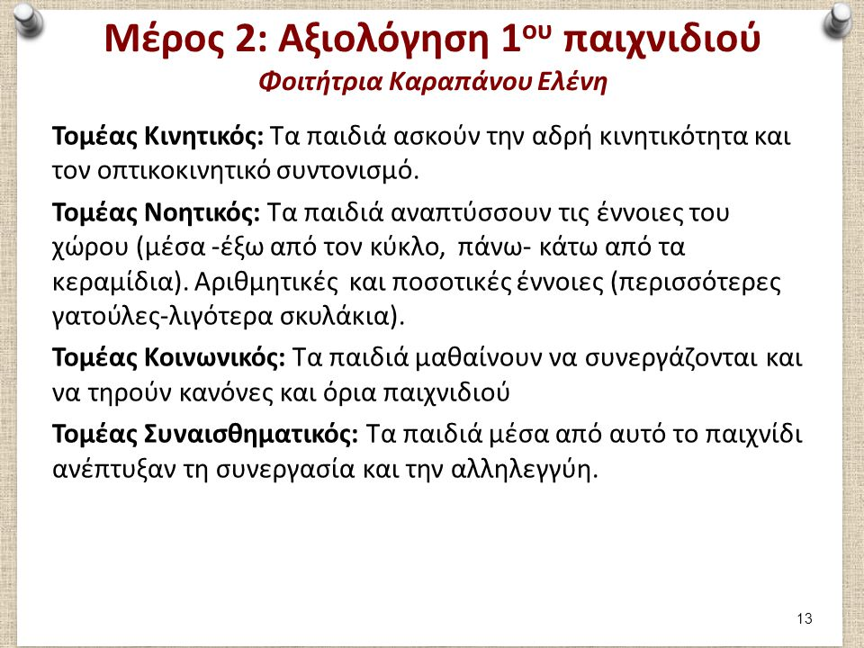 Μέρος 2: Συμμετοχή στο 2ο παιχνίδι Φοιτήτρια Καραπάνου Ελένη