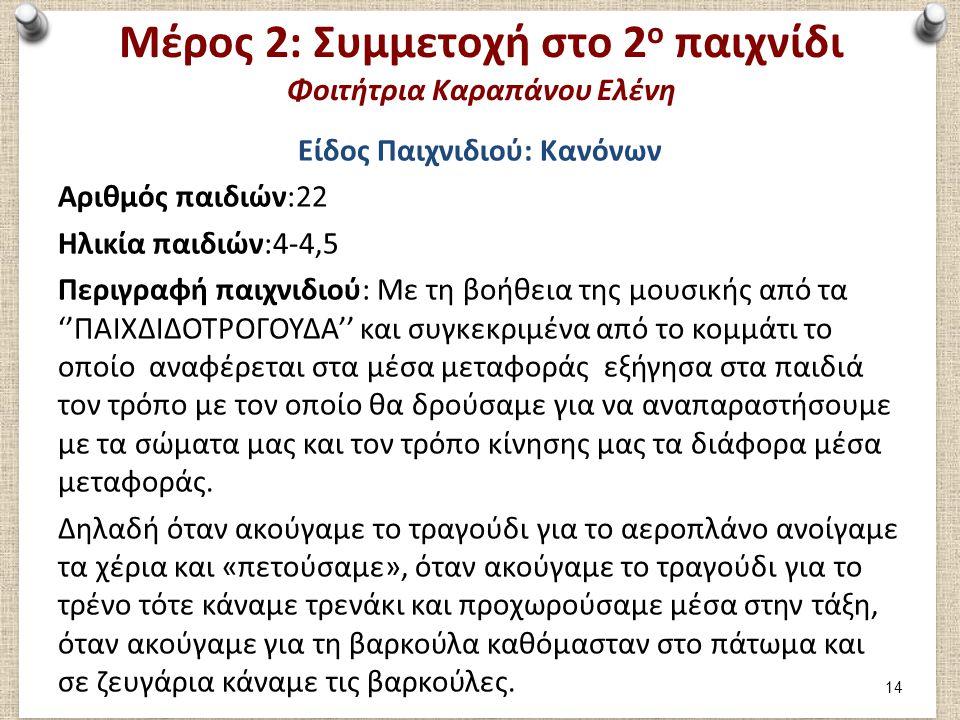Μέρος 2: Αξιολόγηση 2ου παιχνιδιού Φοιτήτρια Καραπάνου Ελένη