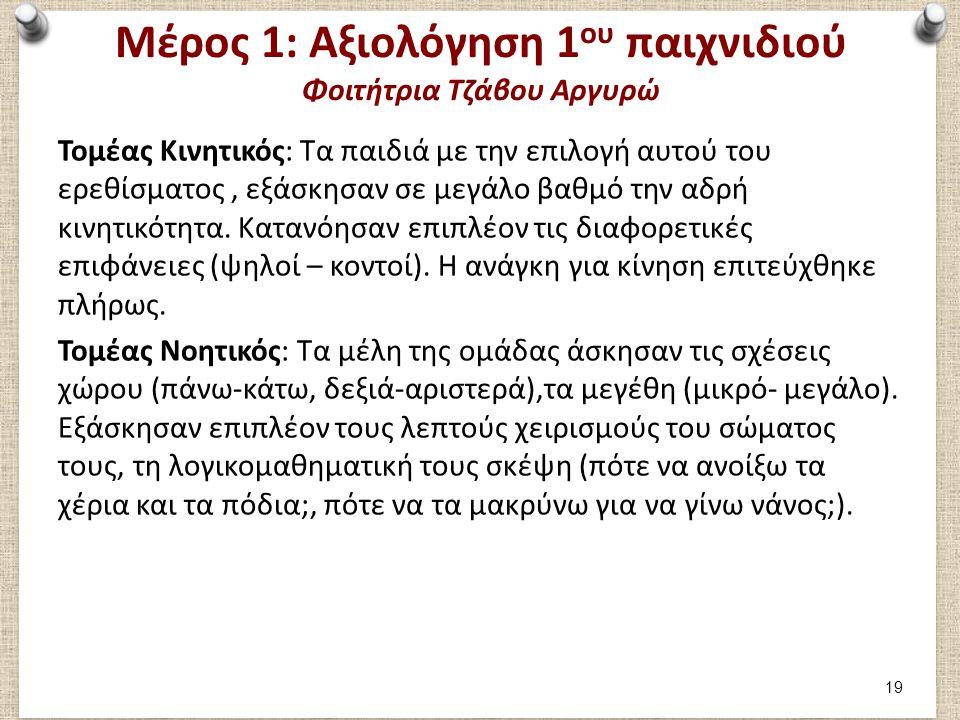 Μέρος 1: Αξιολόγηση 1ου παιχνιδιού Φοιτήτρια Τζάβου Αργυρώ