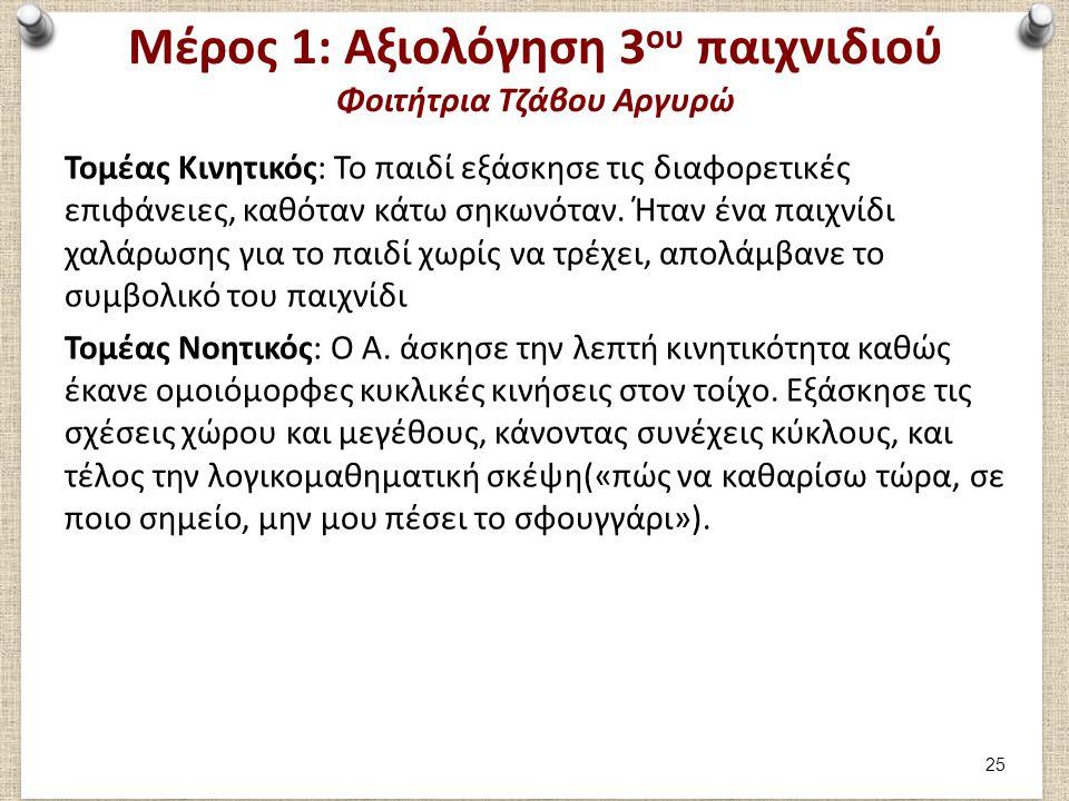 Μέρος 1: Αξιολόγηση 3ου παιχνιδιού Φοιτήτρια Τζάβου Αργυρώ