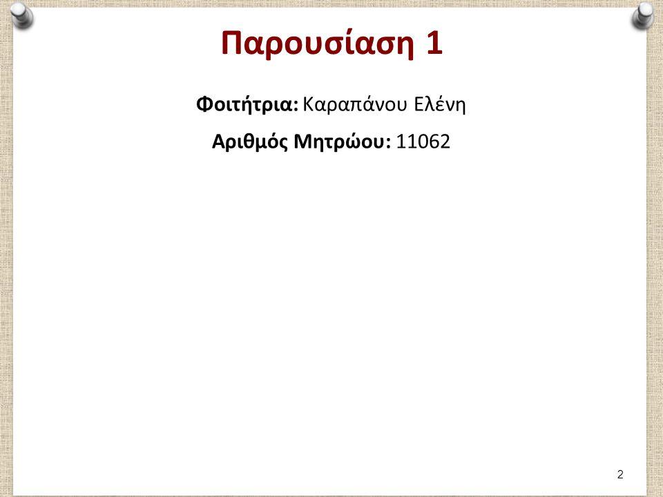 Μέρος 1: Καταγραφή 1ου παιχνιδιού Φοιτήτρια Καραπάνου Ελένη