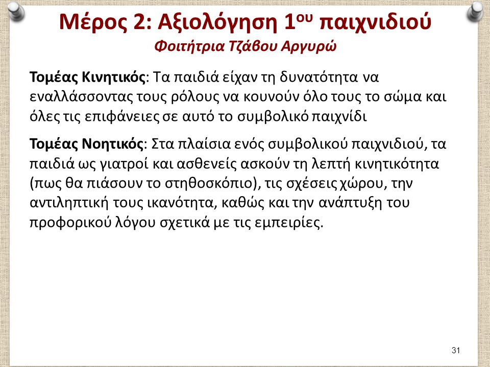 Μέρος 2: Αξιολόγηση 1ου παιχνιδιού Φοιτήτρια Τζάβου Αργυρώ