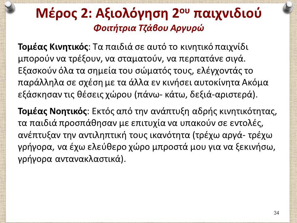 Μέρος 2: Αξιολόγηση 2ου παιχνιδιού Φοιτήτρια Τζάβου Αργυρώ