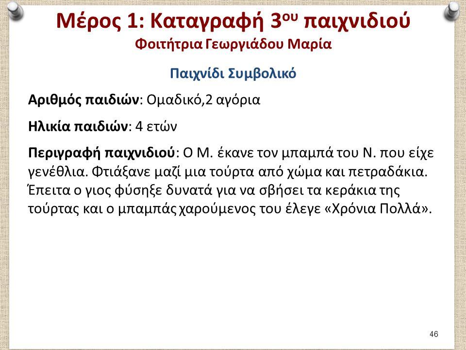 Μέρος 1: Αξιολόγηση 3ου παιχνιδιού Φοιτήτρια Γεωργιάδου Μαρία