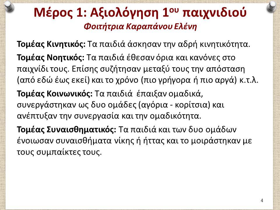 Μέρος 1: Καταγραφή 2ου παιχνιδιού Φοιτήτρια Καραπάνου Ελένη