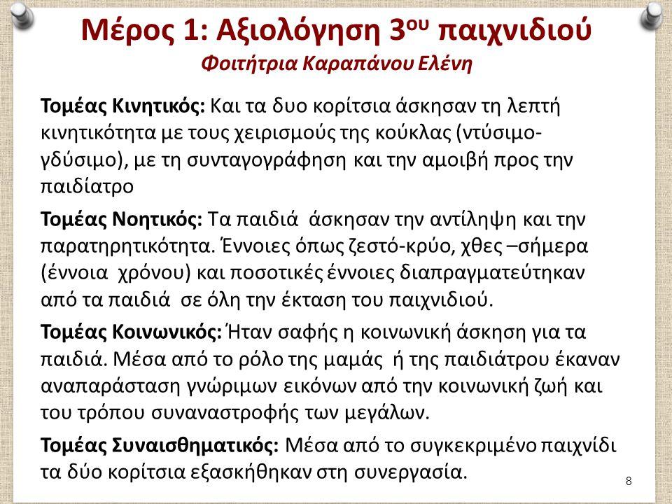 Μέρος 1: Καταγραφή 4ου παιχνιδιού Φοιτήτρια Καραπάνου Ελένη