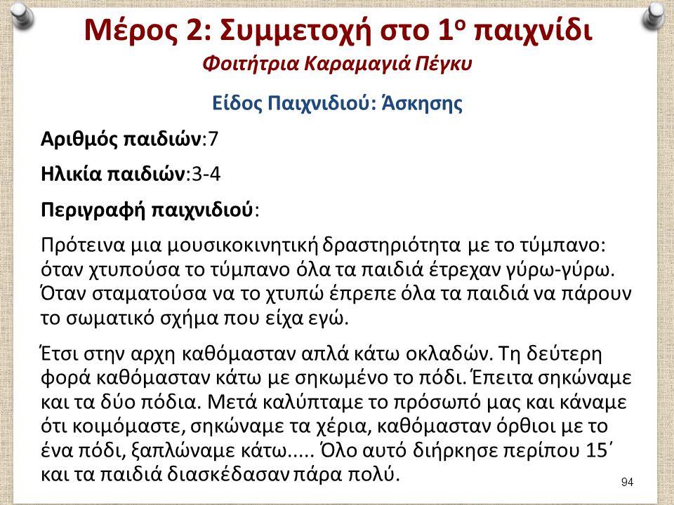 Μέρος 2: Αξιολόγηση 1ου παιχνιδιού Φοιτήτρια Καραμαγιά Πέγκυ