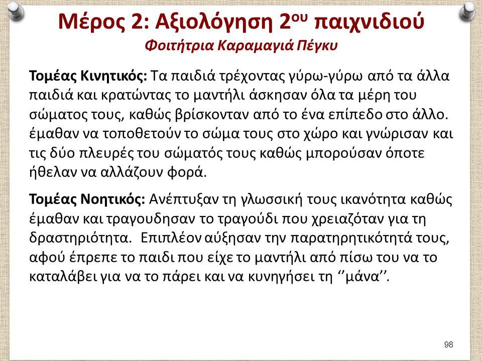 Μέρος 2: Αξιολόγηση 2ου παιχνιδιού Φοιτήτρια Καραμαγιά Πέγκυ
