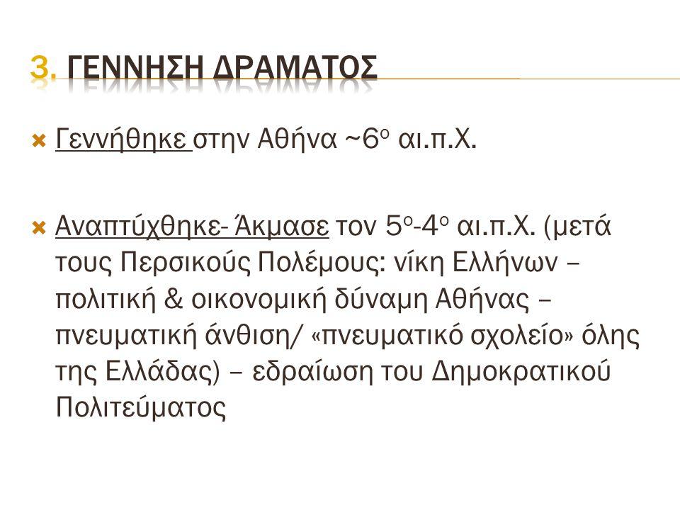 3. Γεννηση δραματοσ Γεννήθηκε στην Αθήνα ~6ο αι.π.Χ.