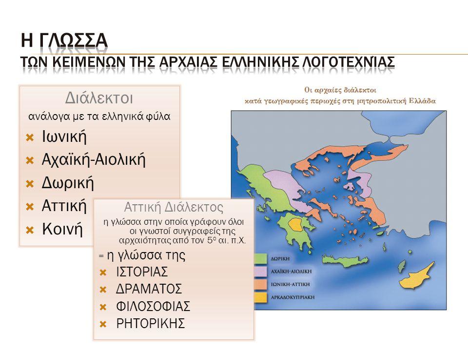 Η Γλωσσα των κειμενων της Αρχαιασ ελληνικησ Λογοτεχνίας