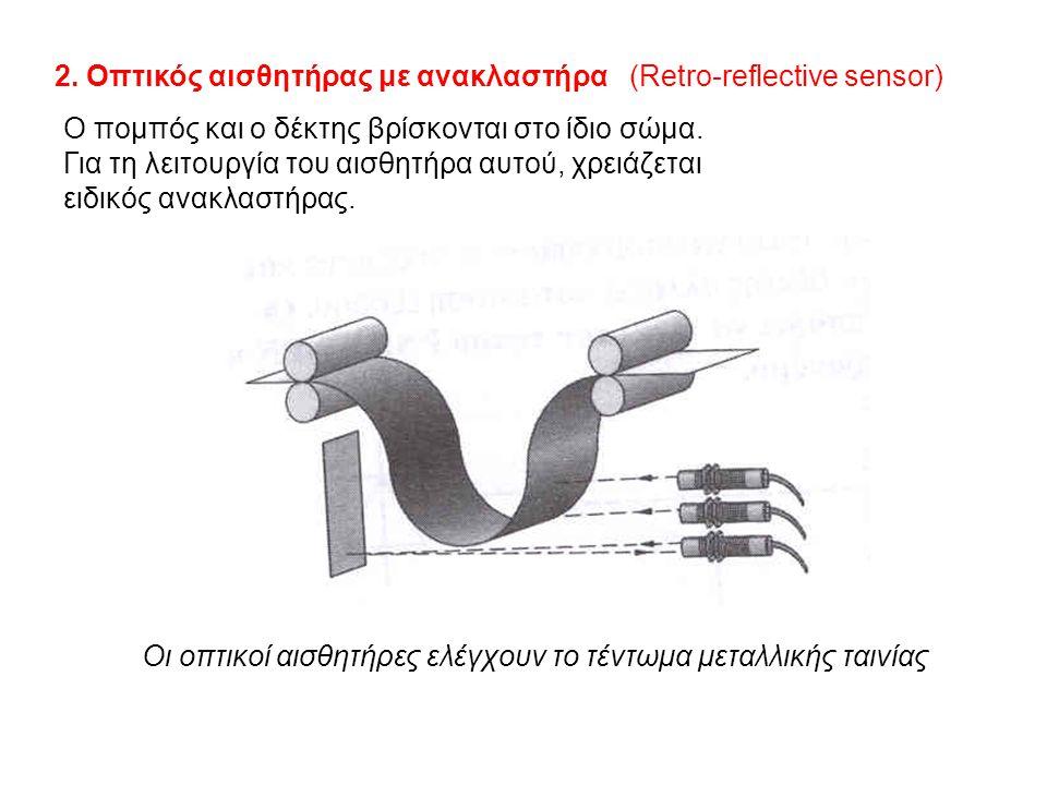 2. Οπτικός αισθητήρας με ανακλαστήρα (Retro-reflective sensor)