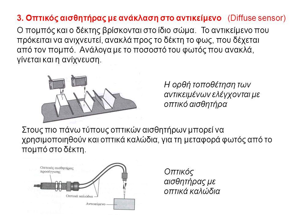 3. Οπτικός αισθητήρας με ανάκλαση στο αντικείμενο (Diffuse sensor)