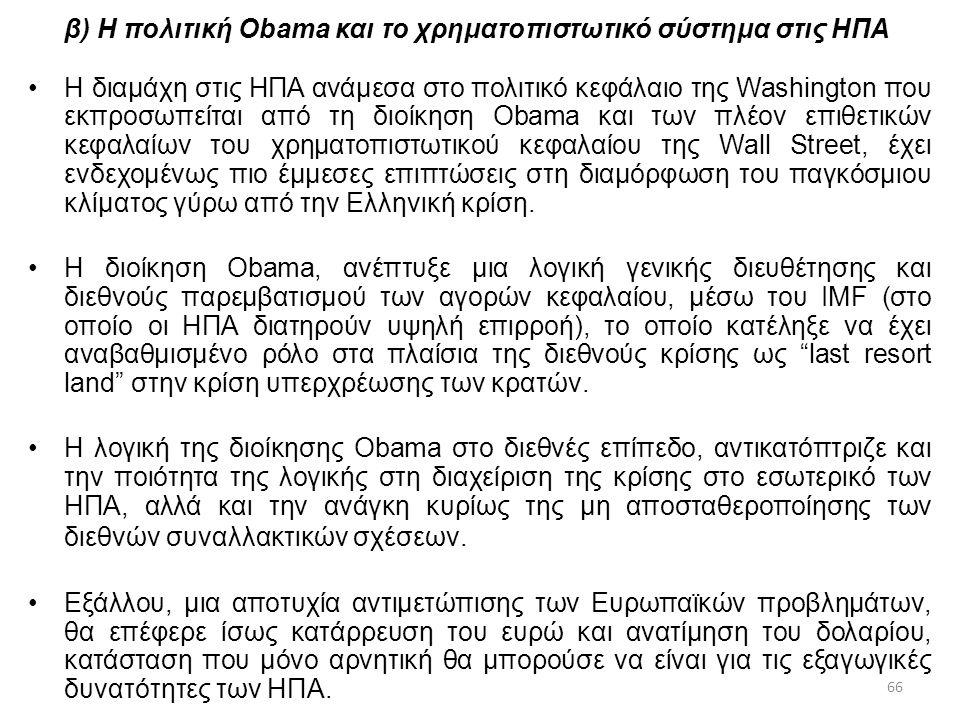 β) Η πολιτική Obama και το χρηματοπιστωτικό σύστημα στις ΗΠΑ