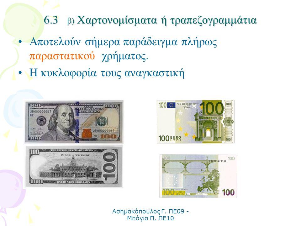 6.3 β) Χαρτονομίσματα ή τραπεζογραμμάτια