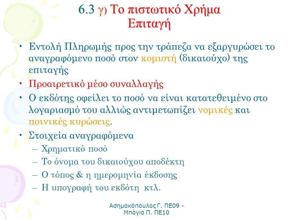 6.3 γ) Το πιστωτικό Χρήμα Επιταγή