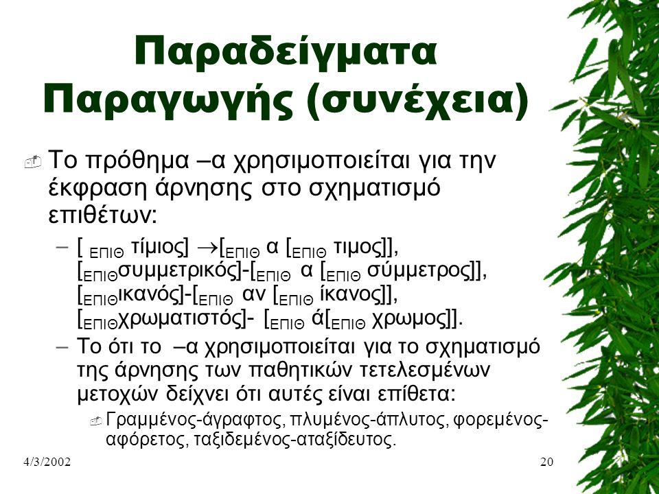 Παραδείγματα Παραγωγής (συνέχεια)