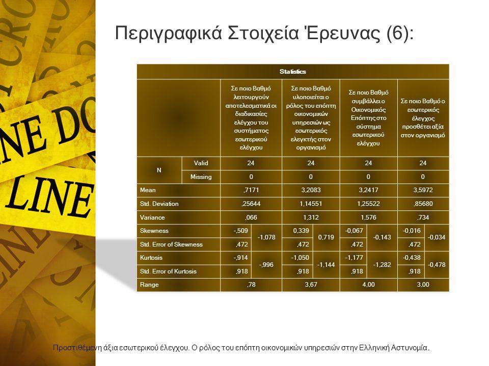 Περιγραφικά Στοιχεία Έρευνας (6):