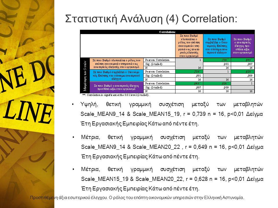 Στατιστική Ανάλυση (4) Correlation: