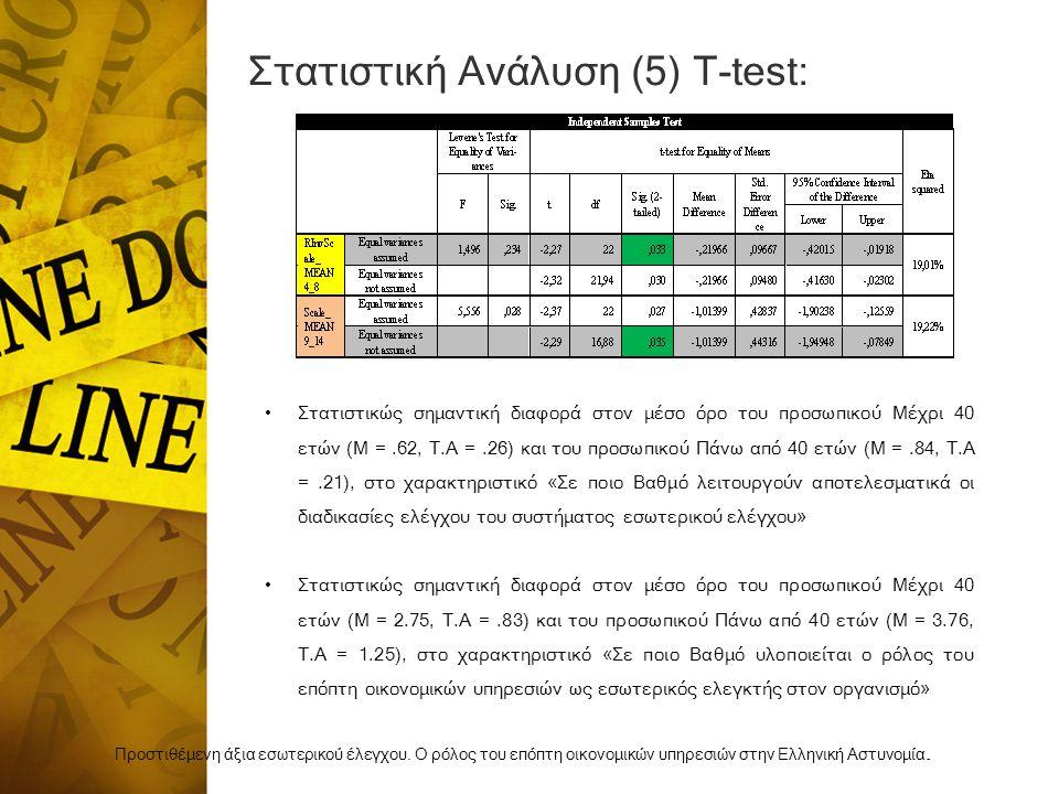 Στατιστική Ανάλυση (5) Τ-test:
