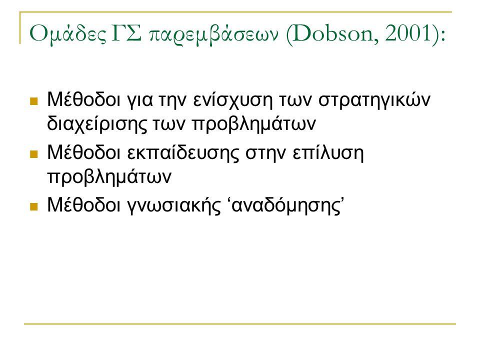 Ομάδες ΓΣ παρεμβάσεων (Dobson, 2001):