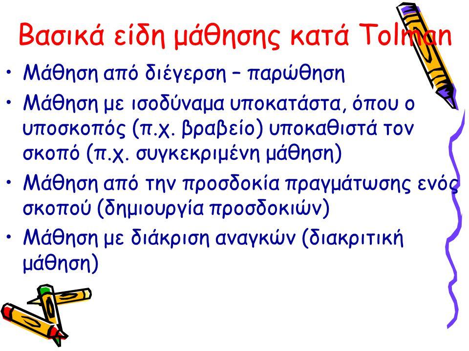Βασικά είδη μάθησης κατά Tolman