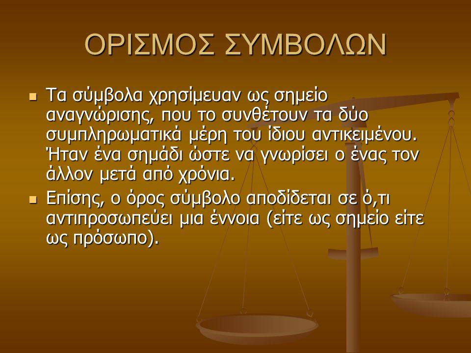 ΟΡΙΣΜΟΣ ΣΥΜΒΟΛΩΝ