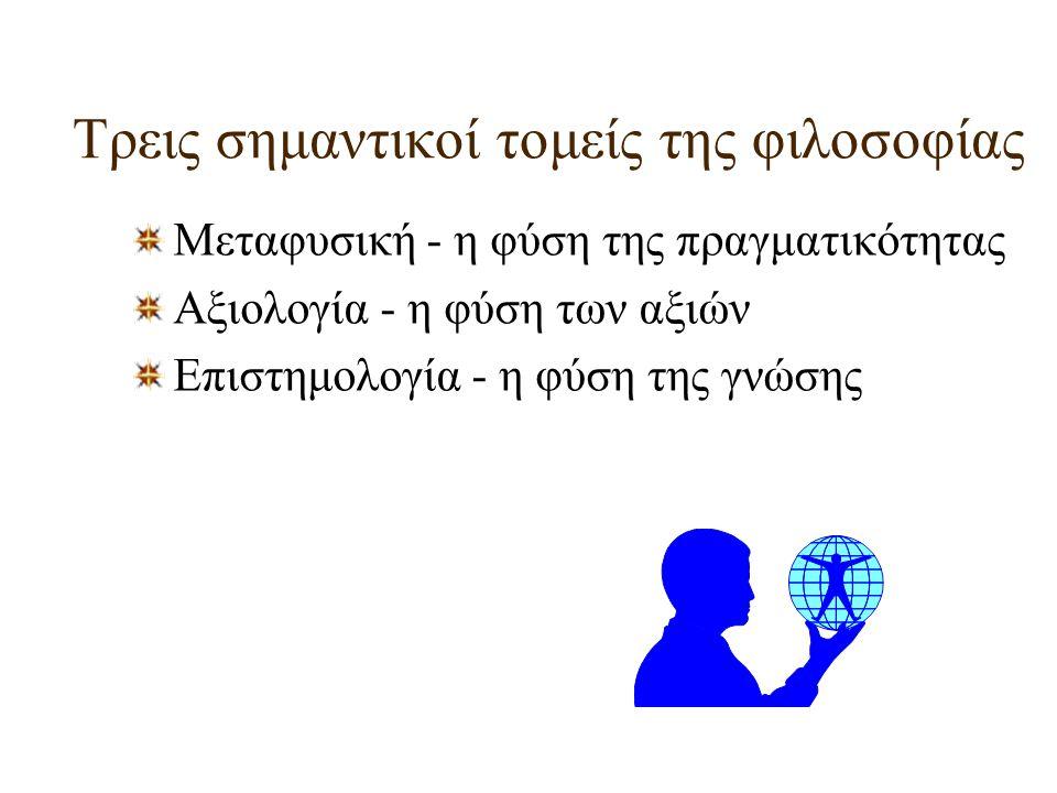 Τρεις σημαντικοί τομείς της φιλοσοφίας